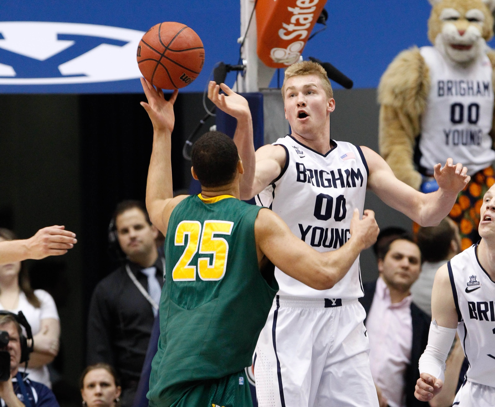 Eric Mika's face, appropriately anticipatory and hopeful. Like BYU's tournament hopes. Chris Nicoll-USA TODAY Sports