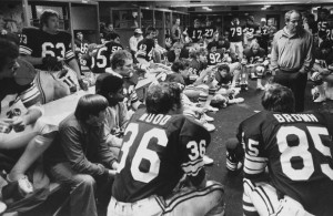 BYU in the locker room in San Diego for the 1978 Holiday Bowl, the season before visiting the upstart Aztecs.