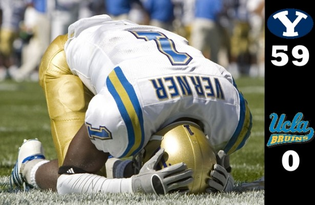 UCLA defensive back Alterraun Verner reacts after giving up a 37-yard touchdown pass from Max Hall to Austin Collie.